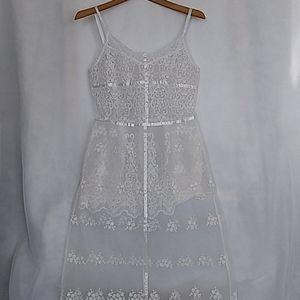 Women's White embroidery Long Dress S